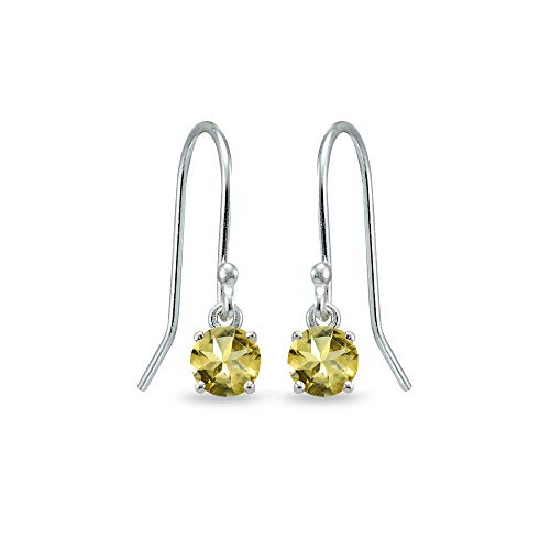 - Sterling Silver Citrine 5mm Round Small Solitaire Dangle Earrings for Women, Teen Girls