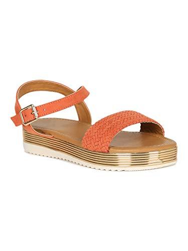 Alrisco Women Woven Open Toe Metallic Trim Flatform Sandal RG00 - Ash Coral Faux Suede (Size: 6.5) ()