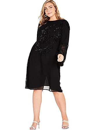 Elvi Women's Black Luzia All-Over Embellished Column Dress (AW18/02/DS42)