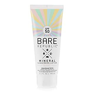 Bare Republic Mineral SPF 50 Baby Sunscreen Lotion. Unscented and Gentle Sunscreen Lotion for Babies 6 Months and Older, 3.4 ounces