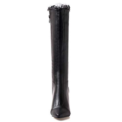 Femmes Coolcept Aiguille Haut Bottes Noir Zipper Mode Genou Chaussures Talon PFAwpq