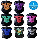 FUYUE Multi-function Skull Masks Skeleton Party Mask Halloween Masquerade Half Face Mask Motorcycle Bicycle Cap Neck Protect Masks (8 color, 8 Pieces) -