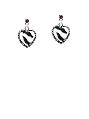 Zebra Print Enamel Ring (Enamel Zebra Print Heart Purple Crystal Post Earrings)