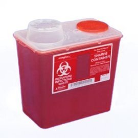 (Monoject Medium 8 Qt. Sharps Disposal Container, Chimney-Top, Red - 8881676285)