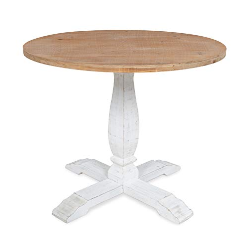 Round Contemporary Natural - Kate and Laurel Bellmead Wood Round Pedestal Dining Table, Natural and White