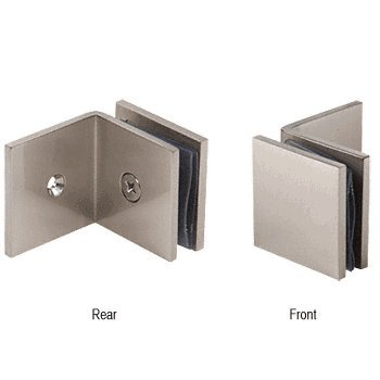 CRL Brushed Nickel Fixed Panel Square Clamp With Large Leg