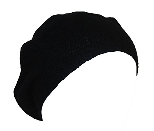 Miuk Women's 100% Pure Cashmere Beret Knit Hat Black