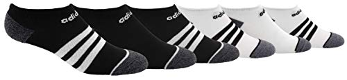adidas Youth Kids-Boy's/Girl's 3-Stripes No Show Socks (6-Pair), Black/White/Black - Onix Marl White/Black/Onix - Lt On, Medium, (Shoe Size 13C-4Y)