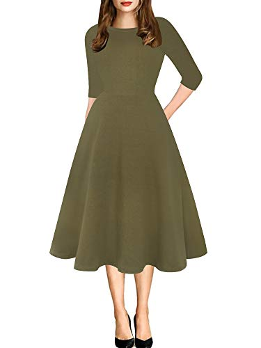 (oxiuly Women's Vintage Round Neck Solid Pockets Tunic Party Cocktail Cotton Blend A-Line Casual Plus Dress OX262 (XXL, Army Green))