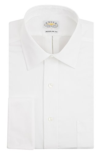 Eagle Men's Non Iron Regular Fit Solid French Cuff Dress Shirt, White, 16.5
