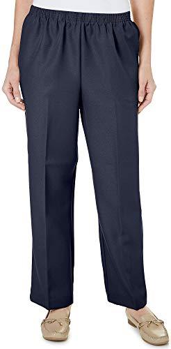 Alfred Dunner Classics Petite Short Elastic Waist Pants Navy 16P M