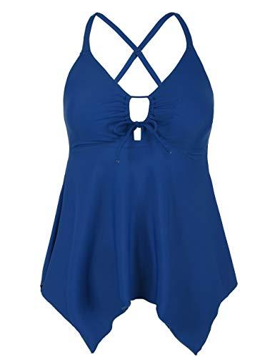 Bandeau Top Keyhole (Firpearl Women's Black Flowy Swimsuit Crossback Plus Size Tankini Top US26 Peacock Blue)