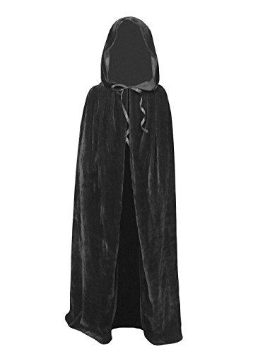 [Kids Velvet Cape Cloak With Hood Unisex-Child Cosplay Halloween Christmas Costume (100cm/39.4inch,] (Cape Velvet Child Costumes)