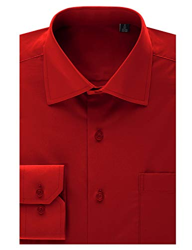(MONDAYSUIT Men's Classic Fit French Cuff Pinpoint Non-Iron Dress Shirt Red 17/17.5