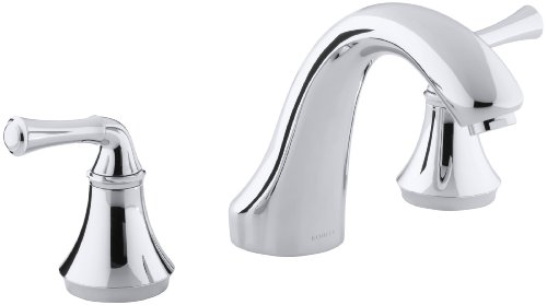 KOHLER K-T10278-4A-CP Forte Bath- or Deck-Mount Rim Valve Trim, Polished (Chrome Tub Rim)