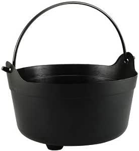 Black Plastic Cauldron Buckets with Handles, 7 X 12