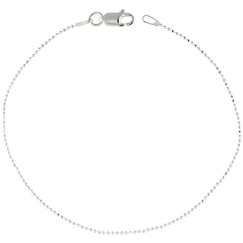 Faceted Bead Chain - Sterling Silver Faceted Pallini Bead Ball Chain Necklace Thin 1mm Nickel Free. 16 inch