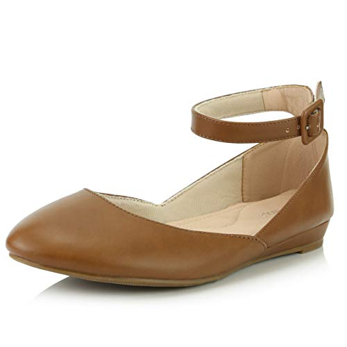 DailyShoes Women's Casual Adjustable Ankle Strap Buckle Pointed Toe Low Wedge Flat Shoes, Tan PU, 7 B(M) US
