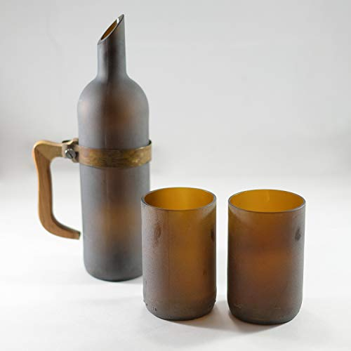 Up-cycled FROSTED AMBER BOTTLE Water flask - Carafe - Jug Set with 12 ounce Glasses