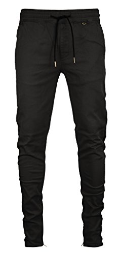 Kayden K Men's Tapered Zipper Ankle Jogger Pants (L, Jet Black)