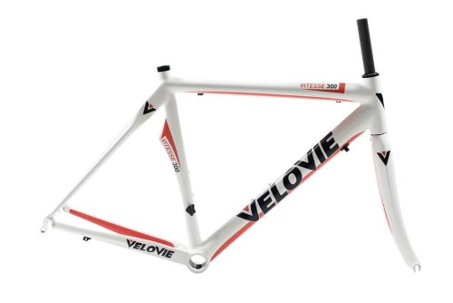 VeloVie Vitesse 300 Carbon Axis Road Bicycle Frame and Fork Set, White/Red, 56cm/Medium