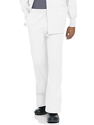 Landau Men's Elastic with Zipper Fly Scrub Pants XXXXX-Large White -