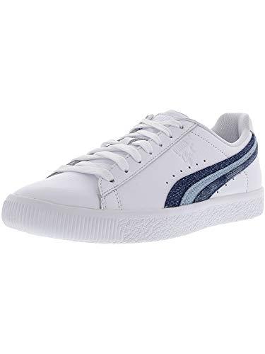 PUMA Women's Clyde Denim Leather Sneakers, Puma White, 9.5 M ()