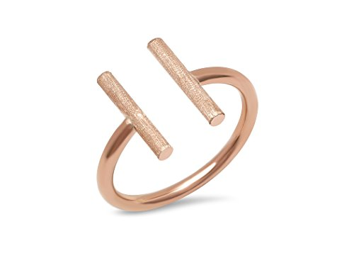 (PORI JEWELERS 14K Solid Gold High Polish Diamond Cut Satin Finish Open Parallel Bar Ring (Rose-Gold, 9))