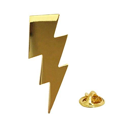 PinMaze Lightening Bolt Lapel Pin - Gold Flash Brooch - Internet Meme (Bolt)]()