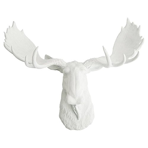 White Faux Taxidermy The Edmonton Moose Head Sculpture, White