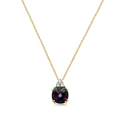 Mystic Topaz Pendant Necklace (Jewelili 10kt Yellow Gold 6 X 6 MM Checkerboard Cushion Cut Mystic Topaz Pendant Necklace,)