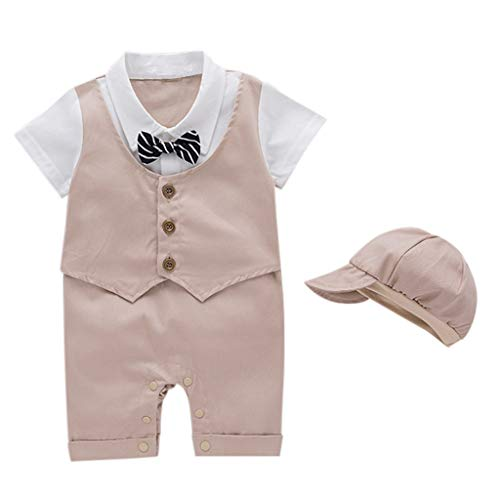 pengchengxinmiao-Clearance Infant Toddler Baby Boys Summer Short Sleeve Gentleman Romper Jumpsuit British Detective Suit + Baseball Cap (Khaki, 12-18Months)