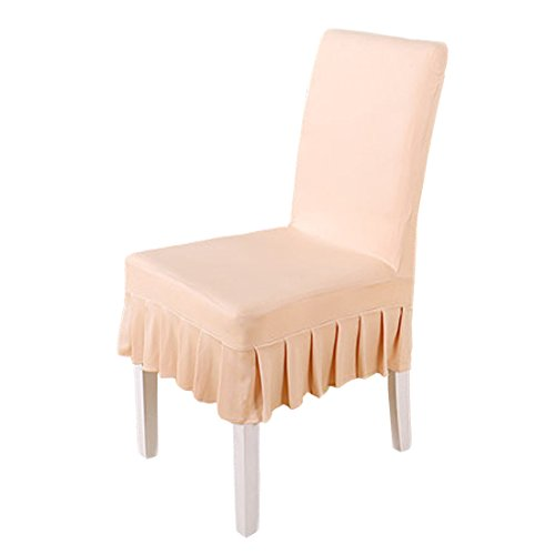 Deisy Dee Solid Ruffled Stretchable Removable Washable Dining Chair Cover Spandex Seats Slipcover for Wedding Party Hotel C029 (KHAKI) 1 - Slipcover Dining Ruffled Chair