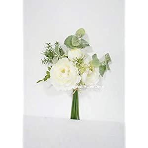 Sweet Home Deco 12'' Spring Silk Ranunculus Flower Bouquet w/Greenery for Wedding/Home Decorations, Floral Design, Rustic Bouquet (White) 85