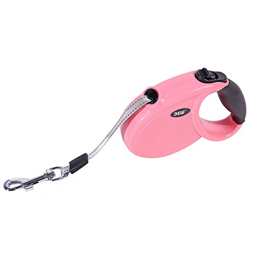 Ohana 8.2 Ft Retractable Dog Leash,Heavy Duty Mini Dog Leash for Small Medium Dog Up to 22 lbs - One Button Break and Lock Pink (Dog Animal Leash Retractable)