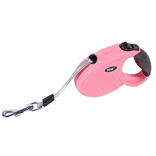 Ohana 8.2 Ft Retractable Dog Leash,Heavy Duty Mini Dog Leash for Small Medium Dog Up to 22 lbs - One Button Break and Lock Pink (Retractable Dog Mini Leash)