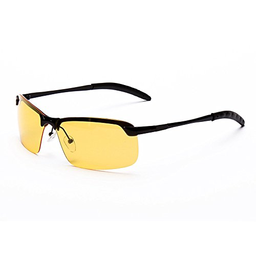 (Thenxin Night Vision Glasses Driving Aviator Goggles Anti Glare Sunglasses New UV400 Eyewear for Men Women (Black, Yellow) )