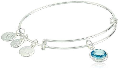 Alex and Ani Women's Swarovski Color Code Bangle March Aquamarine Bracelet, Shiny Silver, Expandable