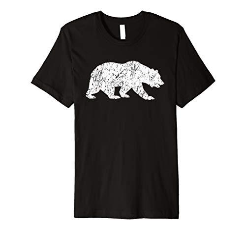 Distressed Bear Shirt Vintage Bear Silhouette T-shirt White
