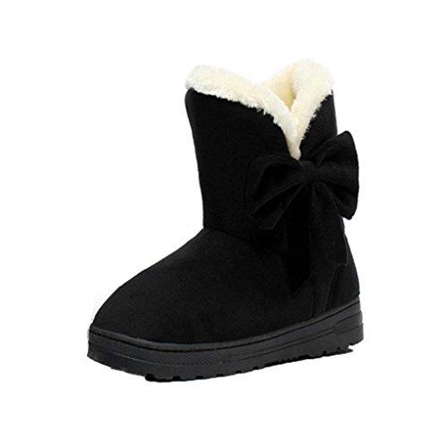 Kolylong Women Winter Warm Bowknot Snow Boots Flats Shoes Black
