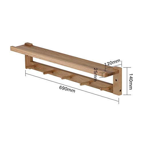 XUEER Solid Wood Coat Rack,Wall-Mounted Creative Simplicity,Green Environmental Protection,Strong Bearing Capacity Solid Durable,with Shelf Storage Multifunction Clothes Hook