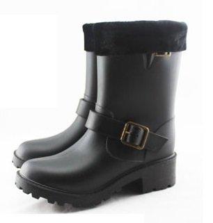 JUSTclothingボア入りモコモコ完全防水防寒エンジニアレインブーツ長靴中綿雨や雪の季節に(ボア有りブラック,M)