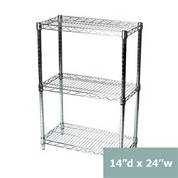 14 d x 14 w chrome wire shelving with 3. Black Bedroom Furniture Sets. Home Design Ideas