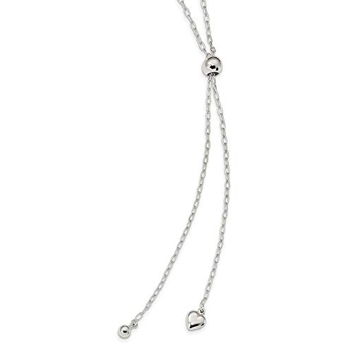 925 Sterling Silver 2mm Long Cable Link Heart Adjustable Chain Necklace Pendant Charm Fancy S/love Bead Station Fine Jewelry For Women Valentines Day Gifts For Her from ICE CARATS