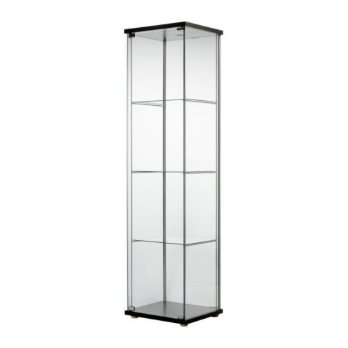 Ikea Detolf Glass Curio Display Cabinet Black , Light Is Included