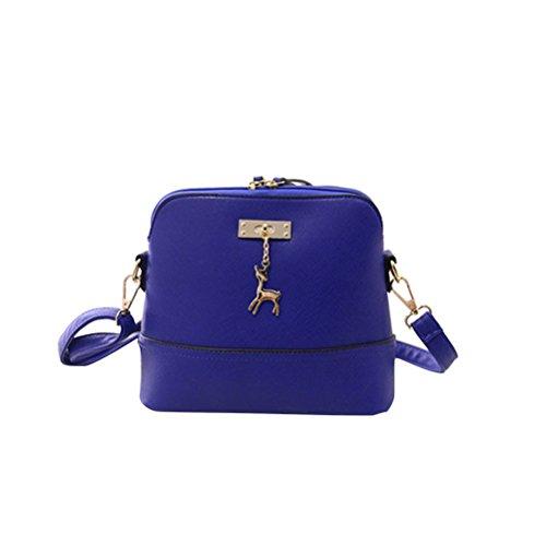 Tinksky Umhängetasche Damen PU Leder Schulter Beutel mit Anhänger Deko beiläufige Handtasche für Frauen (blau)