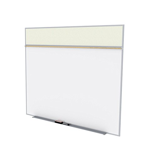 Ghent 5 x 12 Feet Combination Board, Porcelain Magnetic Whiteboard and Vinyl Fabric Bulletin Board, Ivory , Made in the USA by Ghent