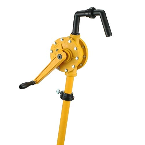 JAANHUEI RP90PJH Hand Rotary Drum Pump PP Hand Pump Oil Fuel Transfer Patented in Taiwan Yellow 51.9 inches (132 cm) PP FKM Seals 9.4 oz. (280 cc) Per Rotation for 5, 15, 30, 55 gal