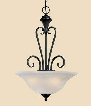 Millennium Lighting 663 BK Devonshire - Three Light Pendant, Black Finish with Faux Alabaster Glass