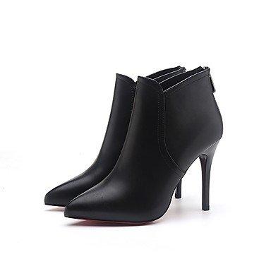 Botas 7'5 Cremallera Botas Stiletto 9'5 Negro Combate PU Mujer black GLL cms de Tacón Otoño amp;xuezi Vestido qzOEFE